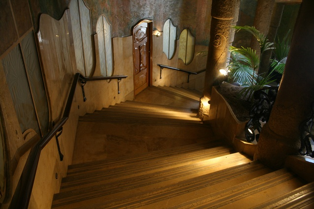 A staircase in Casa Milà, also known as La Pedrera, by Antoni Gaudi.