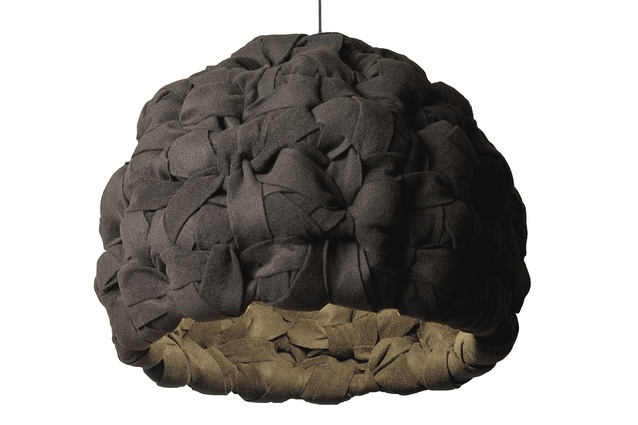 Pessimist pendant light with fabric woven within a metal frame.