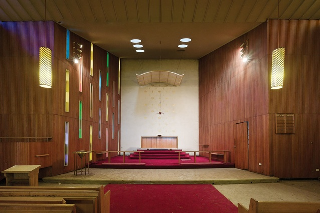 the broken slab, shifted walls, pleated ceiling, empty font and the pews concertinaed together
