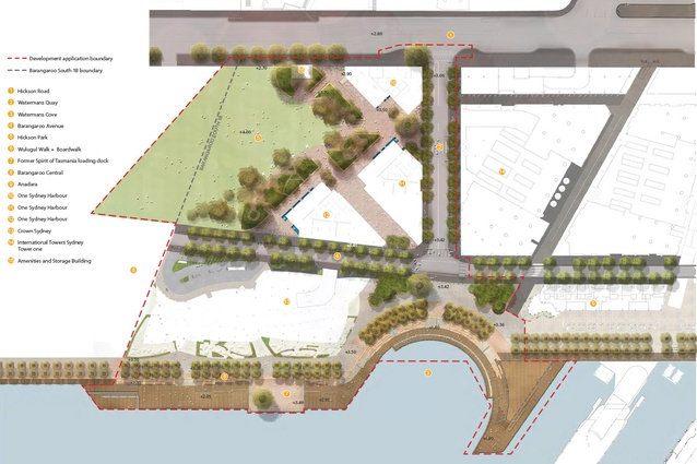 """Watermans Cover and Hickson Park site plan. Click <a href=""""http://media3.architecturemedia.net/site_media/media/cache/53/5b/535b262eb8d3e4830dbf466369f2714a.jpg"""" target=""""_blank"""">here</a> to enlarge."""