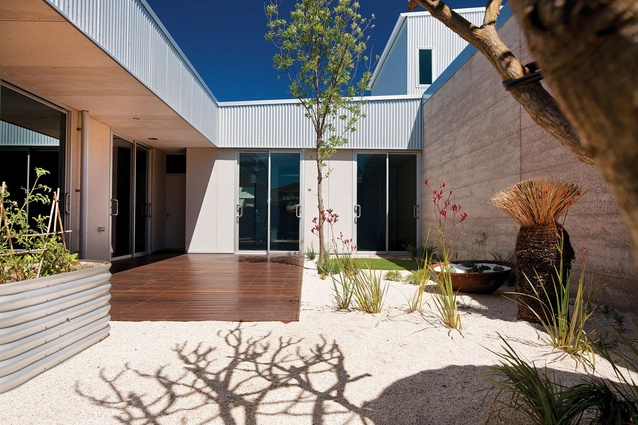The internal courtyard replaces the backyard in a reinterpretation of the suburban house typology.