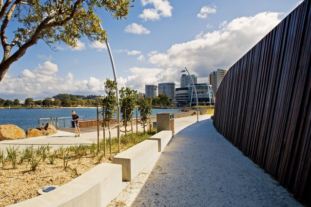 This story wall, one of four at Jack Evans Boat Harbour, will contain indigenous artwork and information panels.