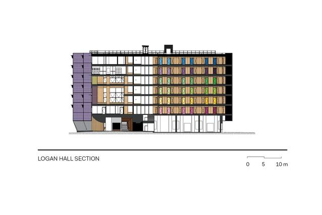 Section through Logan Hall.