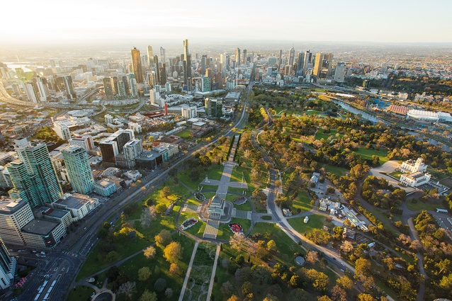 Aerial view of the Shrine of Remembrance.