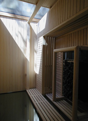 Interior of the separate sauna building.