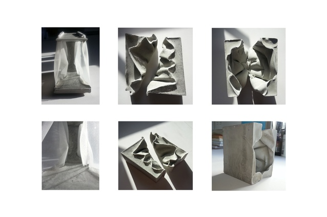 Concrete cast into fabric exploring the dichotomy between the solid and the fluid, the permanent and the transient.