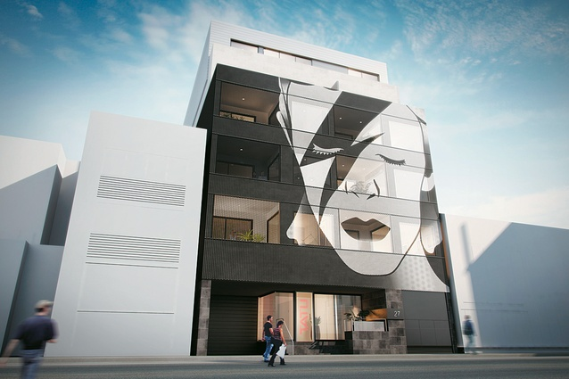 The proposed David Bowie facade of the Tatu Apartment.