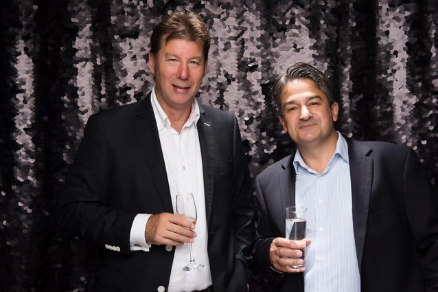 Host of the evening Resene Managing Director Nick Nightingale with John Gerondis, Resene National Sales Manager.