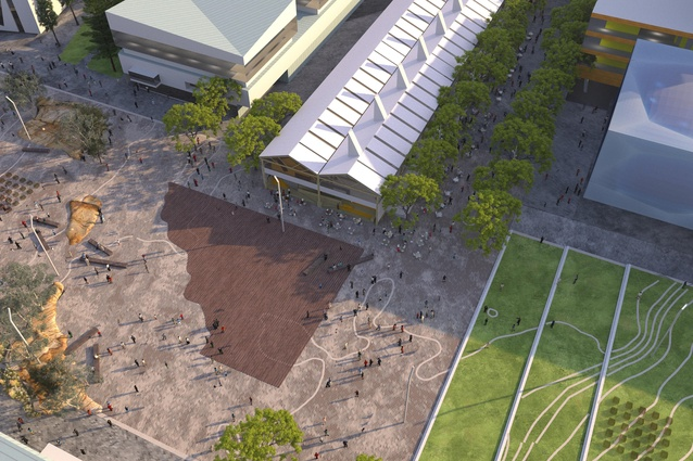 MONA's vision for the redevelopment of Macquarie Point designed by Fender Katsalidis and Rush Wright features a series of sandstone outcrops in the centre of the public space.