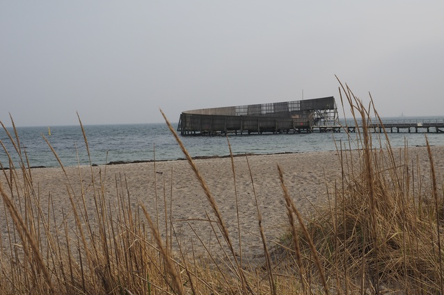 Kastrup Sea Bath as seen from the shoreline of Amager Beach.