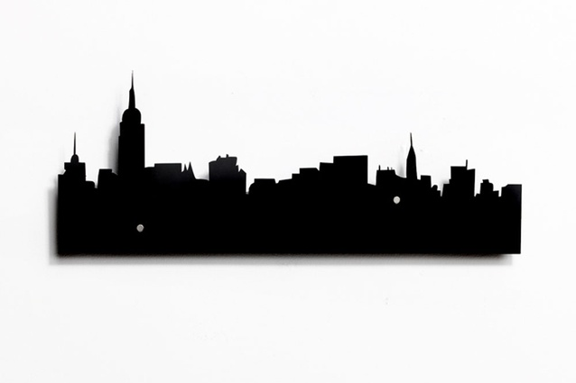 New York Skyline coat rack.