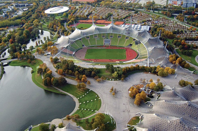 "Example of ""sports park model"" – Munich Olympic Park, designed by Frei Otto, Günther Behnisch and Günther Grzimek for the 1972 summer olympics."