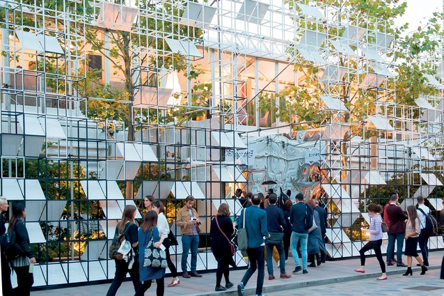 London Design Festival: Satellite Architects designed a striking 70m wide by 7m high GRID façade.