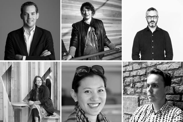 Top left, clockwise: David Gianotten (OMA), Mimi Zeiger, Dan Hill (Arup), Rory Hyde (Victoria and Albert Museum, London), Marisa Yiu (Eskyiu), Benedetta Tabliague (Miralles Tagliabue).