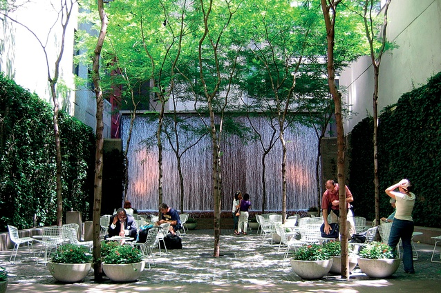 """New York City's Paley Park, designed by Zion and Breen in 1967, is an iconic example of an exterior """"room""""."""