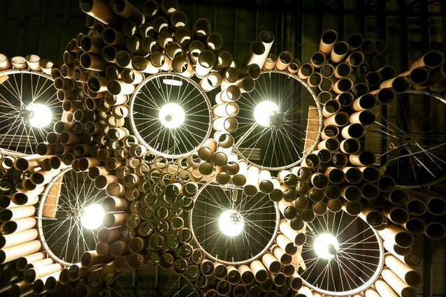 Sydney: cardboard cylinders and bicycle wheels make a lighwall.