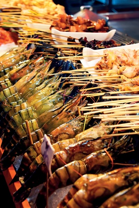 Fresh seafood at a street-food market.