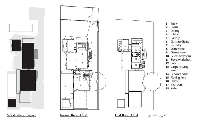 The site plan, ground floor plan and first floor plan for Dalkeith House.