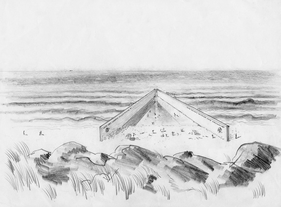 A sketch of Robin Boyd's (unbuilt) Harold Holt Memorial Swim Centre.
