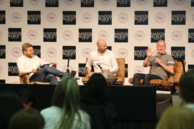 Hecker Guthrie directors Hamish Guthrie (middle) and Paul Hecker (right) in discussion with Architecture Media's Cameron Bruhn (left) at the Maison&Objet Asia Summit.