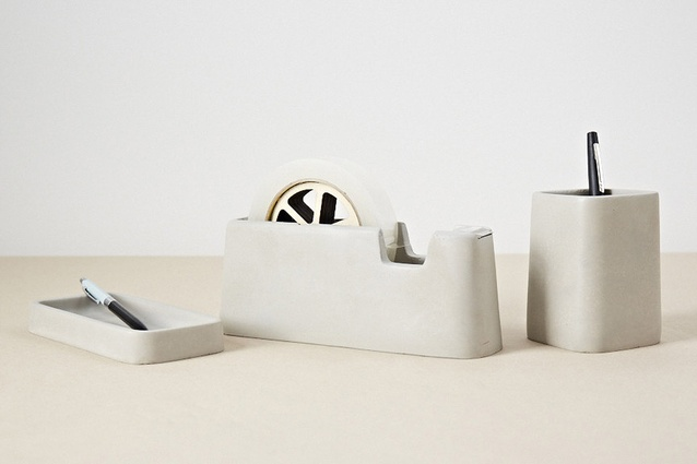 "The <a href=""http://theobjectroom.co.nz/products/awmpcds/areaware-concrete-desk-set"" target=""_blank""><u>Areaware concrete desk set</u></a> by Magnus Petterson will be the star of the show on any designer's desk."