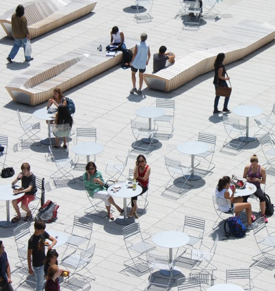 The Science Center Plaza at Harvard University by Stoss is designed to allow for multiple programs through a minimal use of permanent structure.