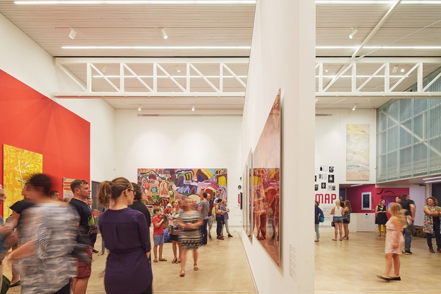 Composed as boxes, the main gallery is markedly different from the outer shell of the building, featuring a double-height exhibition space and ancillary rooms.
