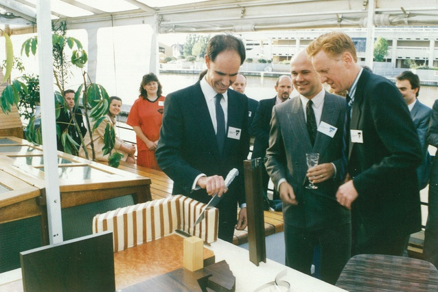 Launch of ARM Architecture (1988). From left: Stephen Ashton, Ian McDougall and Howard Raggatt.