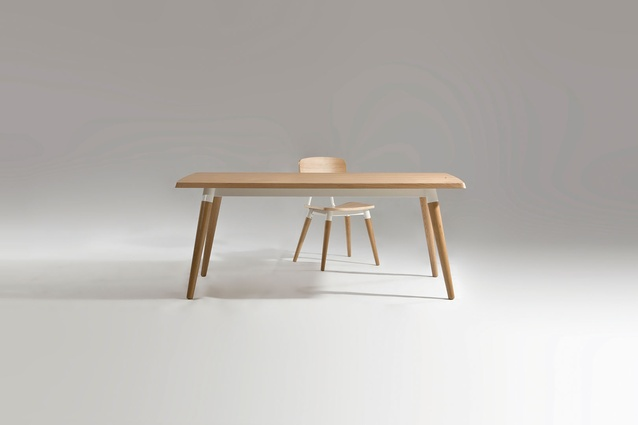 The Copine chair and table were inspired by a French school chair.