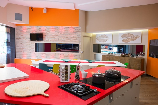 The <em>Big Brother</em> kitchen benches are Silestone Rosso Monza from Cosentino.