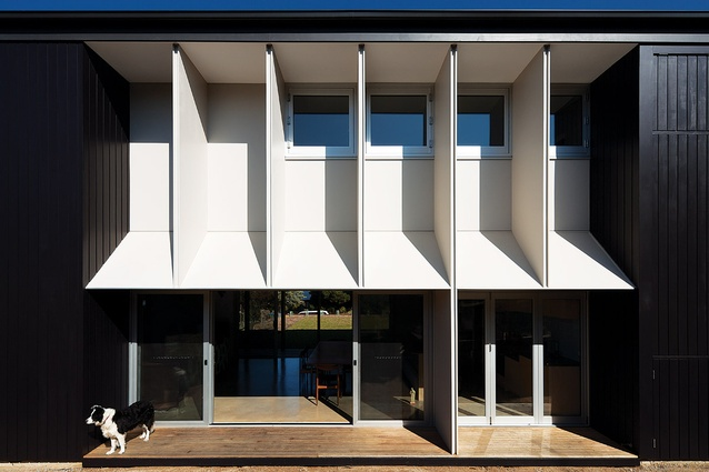 This modular rear facade uses a repeated module of 1,200-millimetre intervals, the size of the client's canvases.
