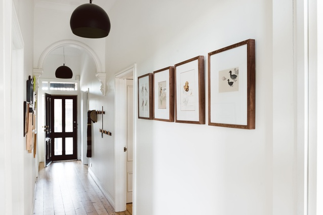 The hallway of the Edwardian home was kept  the same.