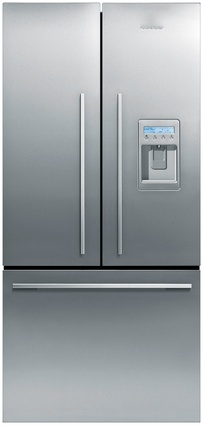 French Door 790 mm fridge with ice/water dispenser and freezer drawer.