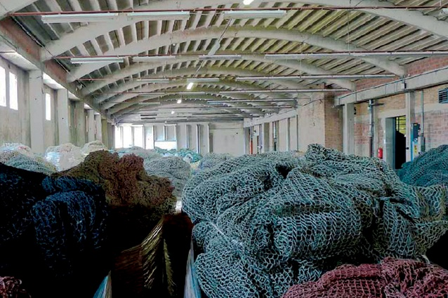 Fishing nets are collected to be recycled for Econyl's fibres.