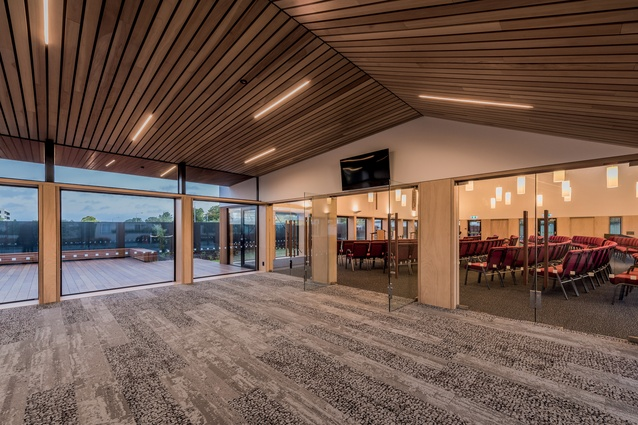 The foyer leads the congregation into the worship space on one side and, on the other, to the kitchen, a multi-use hall, function rooms, storage and utility rooms and office spaces.