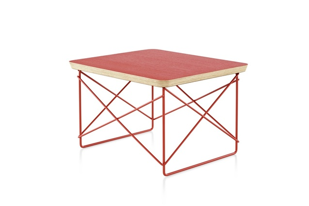 The Select edition Eames Wire Base Low Table in red-orange.