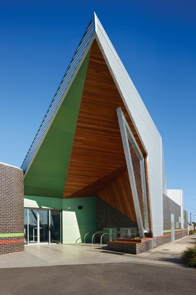 A sculptural roof heralds the centre as a pivotal place.