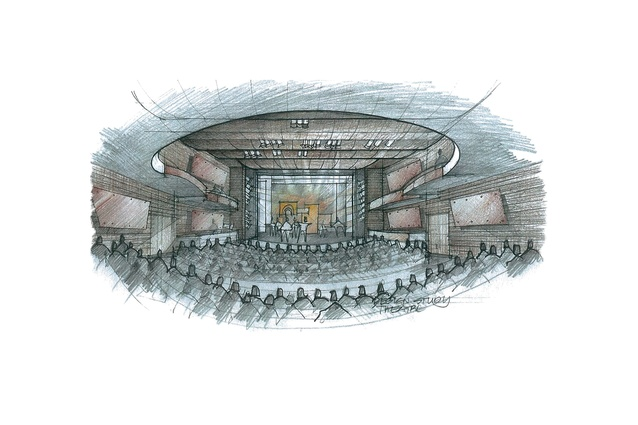 Design study of the theatre by Gordon Moller.