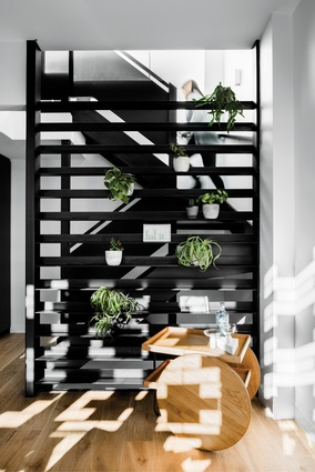 "The exposed but screened stair emphasizes the ""soaring verticality"" of the living area."