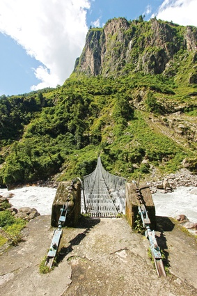 The Annapurna Circuit crosses the fast-flowing Marsyangdi River.