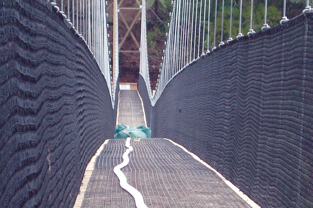 The Maramataha Stream Bridge is load tested at 3.5 tonnes.