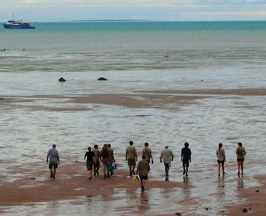 Yawuru Rangers head out to sea grass, Roebuck Bay.