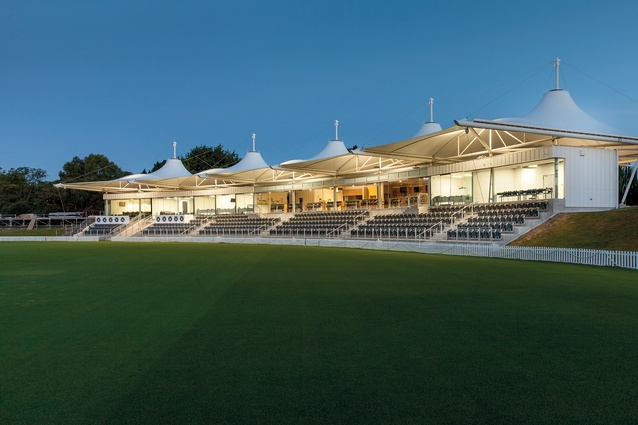 Hagley Oval Pavilion, designed by Athfield Architects.