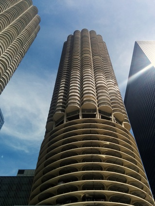 Bertrand Goldberg's Marina City Towers and Mies van de Rohe's One IBM Plaza from the CAF boat cruise.
