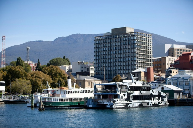 Old and new afloat: <em>MONA Roma 1</em> docked in Hobart.