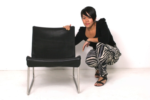 Jessica Louise Wong with her Pelle chair.