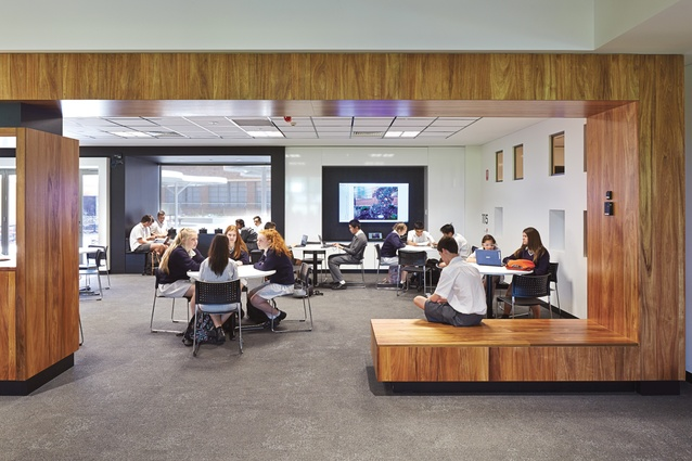 The study hub on level one is an open, flexible space for students that can also be booked by teachers for classes. Tasmanian blackbutt timber frames the space and creates extra seating.