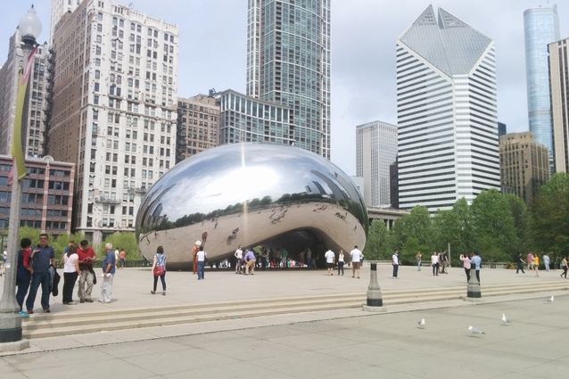Anish Kapoor's <em>Cloud Gate</em> sculpture — the centrepiece of AT&T Plaza at Millennium Park in Chicago.