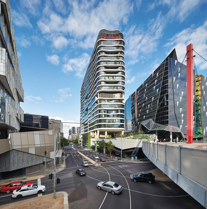 Medibank employees who arrive to work via Southern Cross Station are treated to views of lush landscaping and cafes on their way into the building.