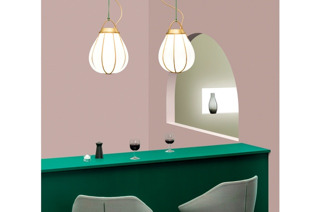 Design Junction: Örsjö 'Hobo' pendant lights in brass and handblown glass by Swedish designer Gustaf Nordenskiöld.